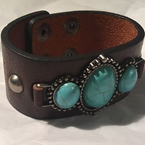 Jewelry - Genuine leather and turquoise bracelet!